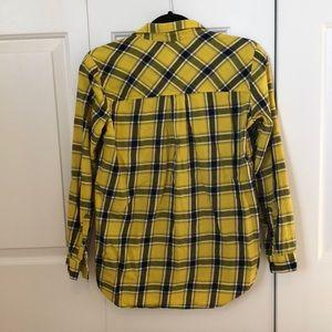 H&M Tops - Yellow, Black & White Button Down Plaid Shirt